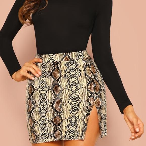 a8164904fd SHEIN Skirts | Snakeskin Mini Skirt Wslit Small 12 Nwot | Poshmark